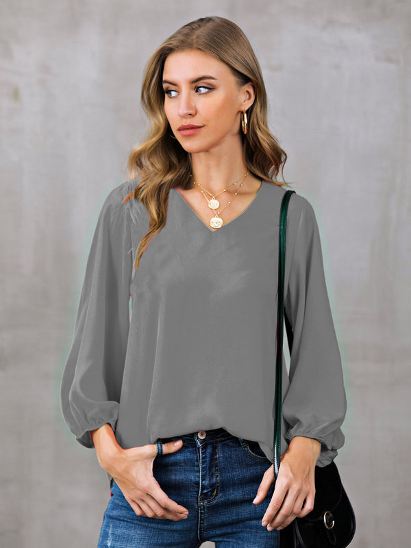 Shift Solid Casual V Neck Shirts & Tops