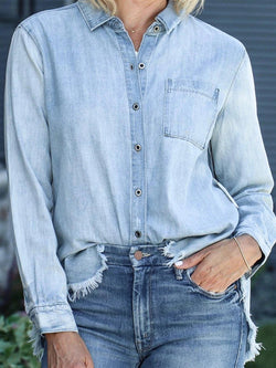 Casual Denim Blue Daily Cotton Blouse Top