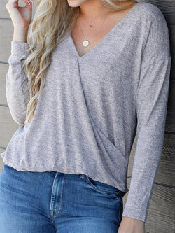 Basic Casual Daily Autumn V-neck Long Sleeve Cotton Top