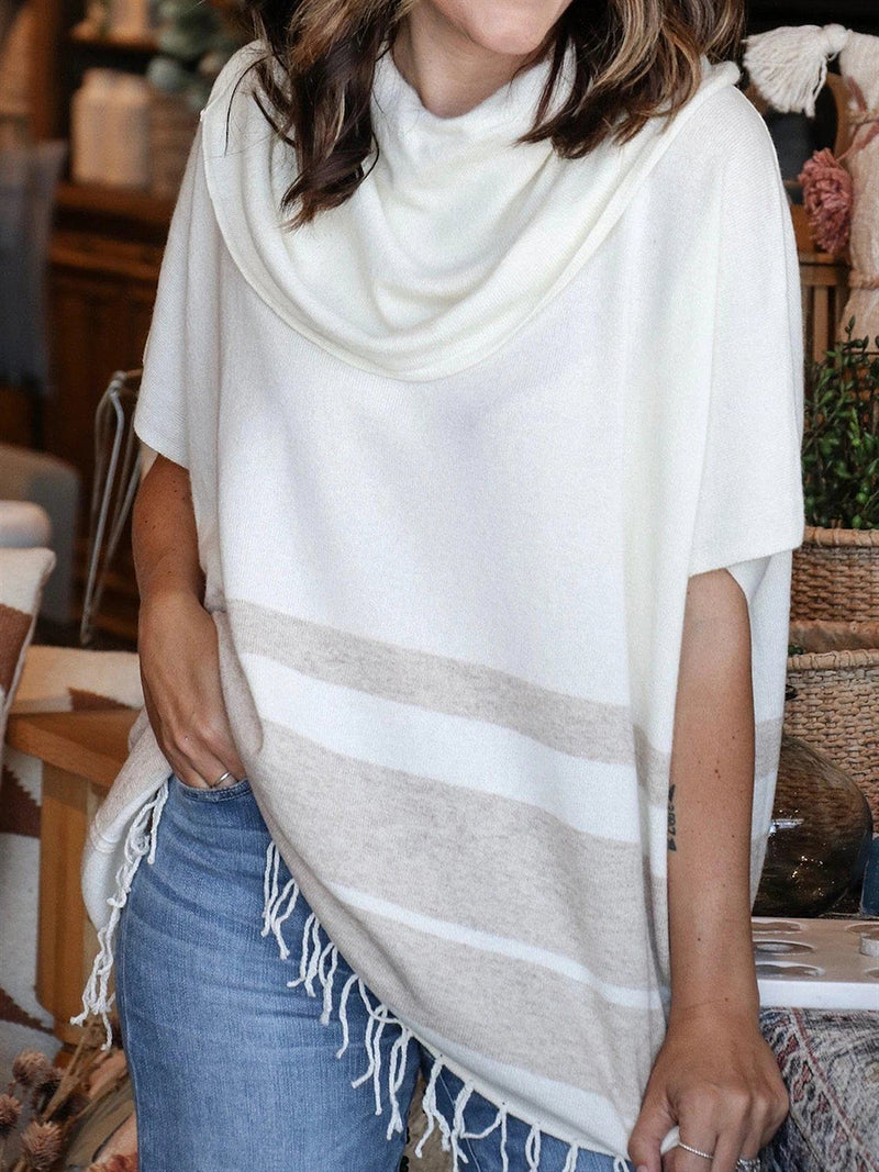 Autumn Casual Basic Daily Tassel Turtleneck Cotton Top