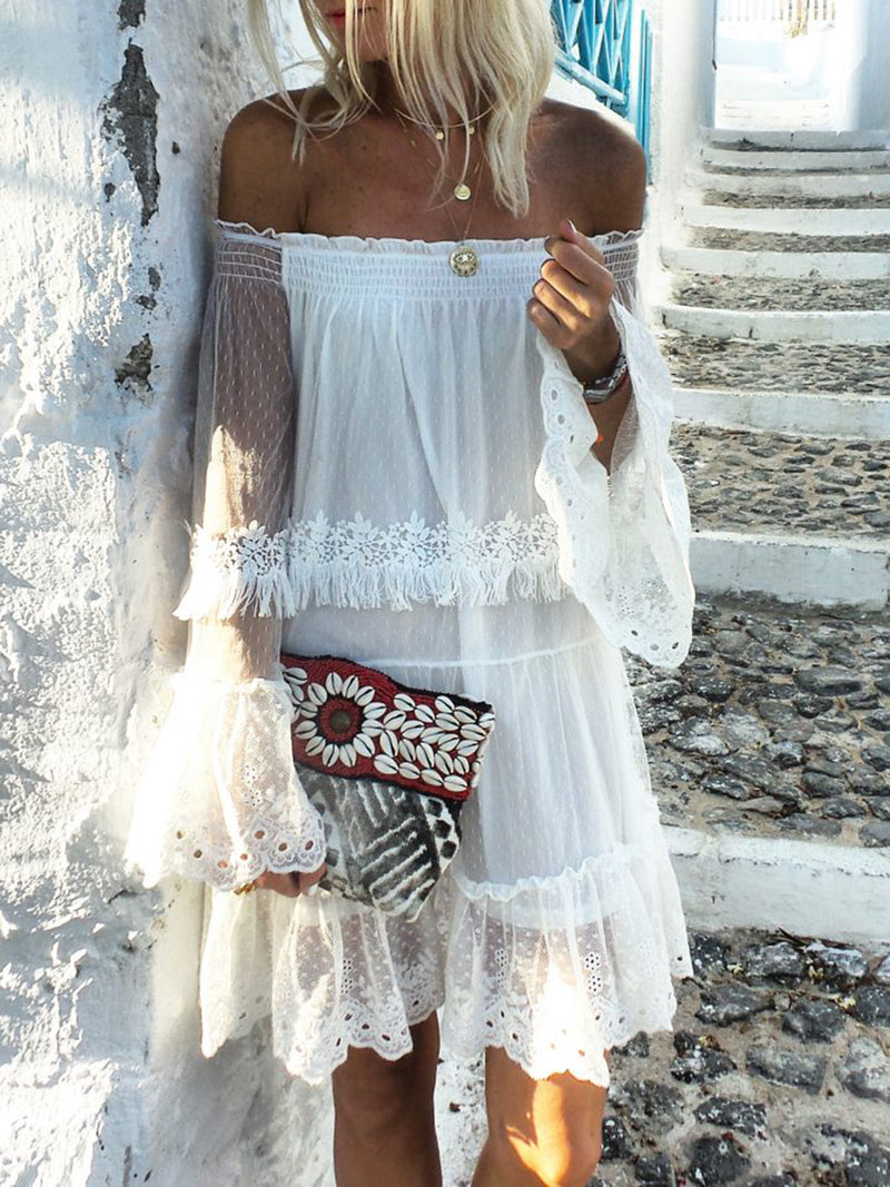 Sexy Off Shoulder Solid White Dress Swim SS19 Beach Dresses