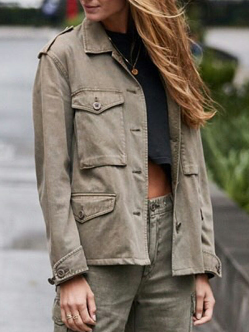 Army Green Plain Paneled Shirt Collar Casual Outerwear