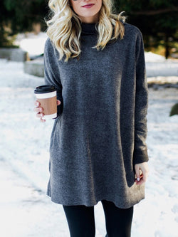 Deep Gray Cotton-Blend Long Sleeve Plain Sweater