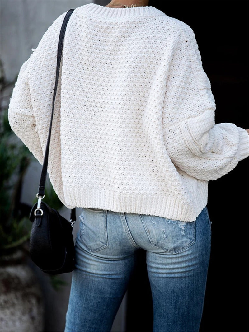 Long Sleeve Crew Neck Knitted Plain Sweater