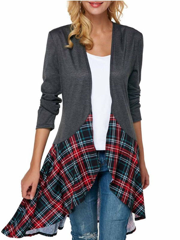 Deep Gray Casual Checkered/plaid A-Line Cotton-Blend Outerwear