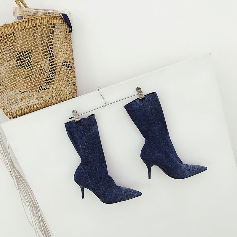 Fall Solid Stiletto Heel Boots
