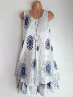 Women Sleeveless Causal Dresses Scoop Neckline Printed Dress