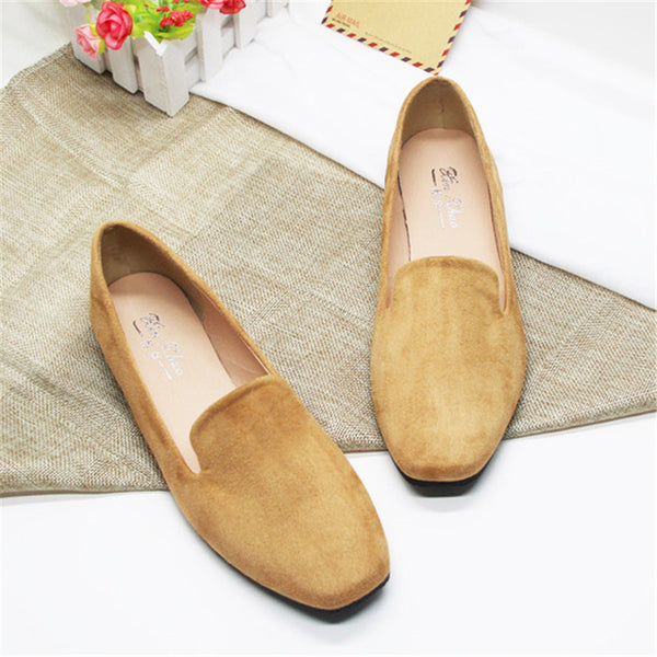 Large Size Solid Flocking Loafers