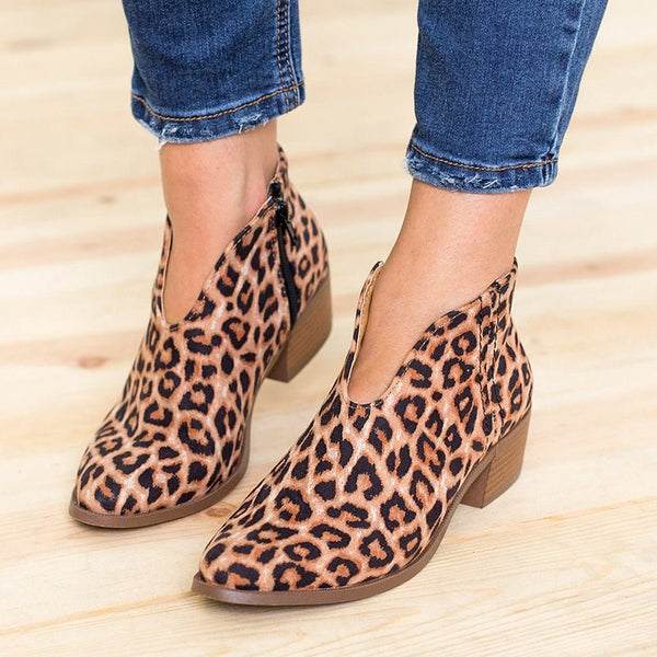 Women Spring Ankle Boots Sexy Leopard Casual Plus Size Shoes