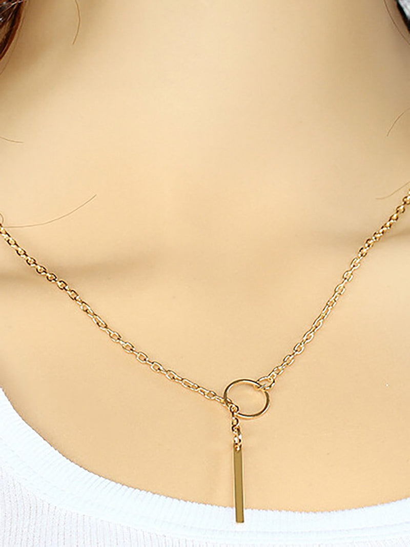 Womens Simple Alloy Ring Necklace
