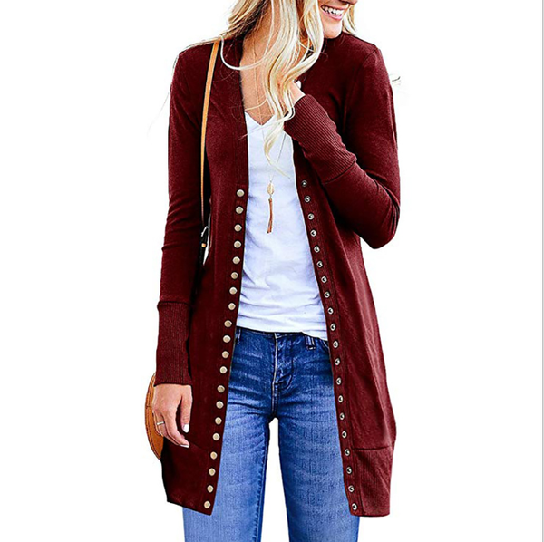 11 Colors Solid Casual Buttoned Long Sleeve Cardigan