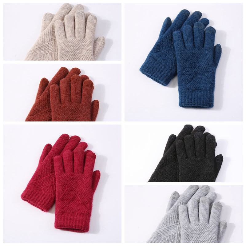 Couple Fashion Diamond-shaped knit Touch Screen Gloves