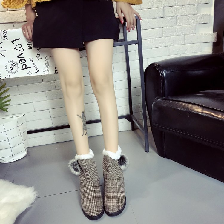 Coffee Flat Heel Applique Cotton Daily Boot
