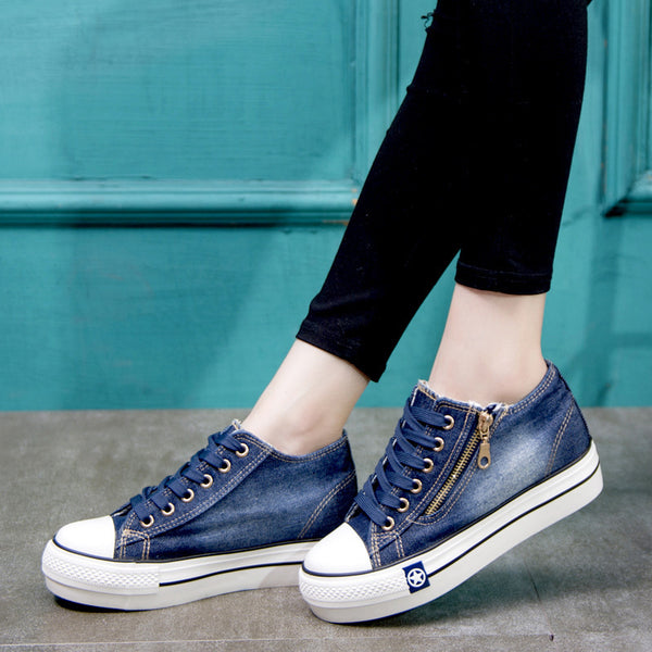 Women Denim Sneakers Casual Comfort Plus Size Shoes
