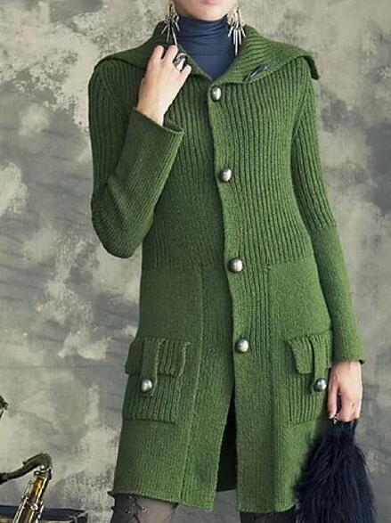 Green Casual Knitted Outerwear