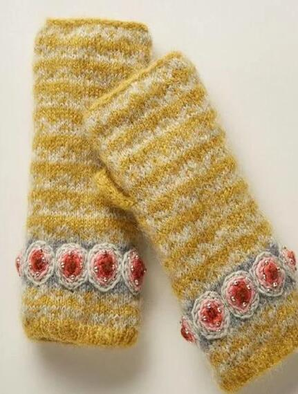 Yellow Knitted Tribal Gloves & Mittens