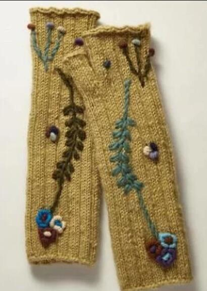 Yellow Tribal Cotton-Blend Gloves & Mittens