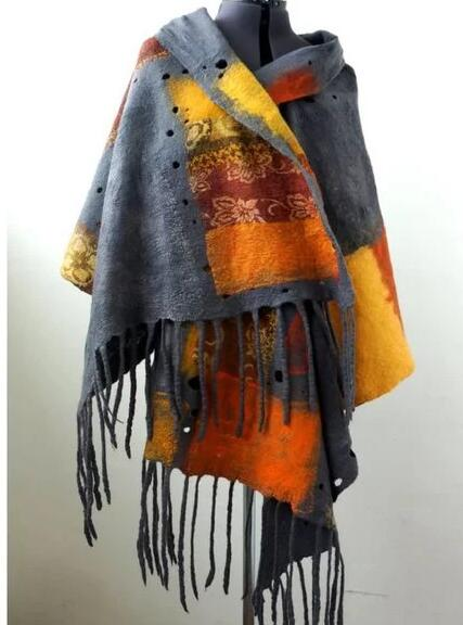 Gray Cotton-Blend Scarves & Shawls