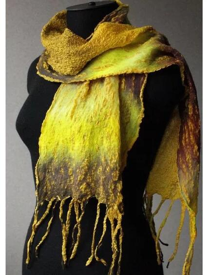 Yellow Cotton-Blend Casual Scarves & Shawls