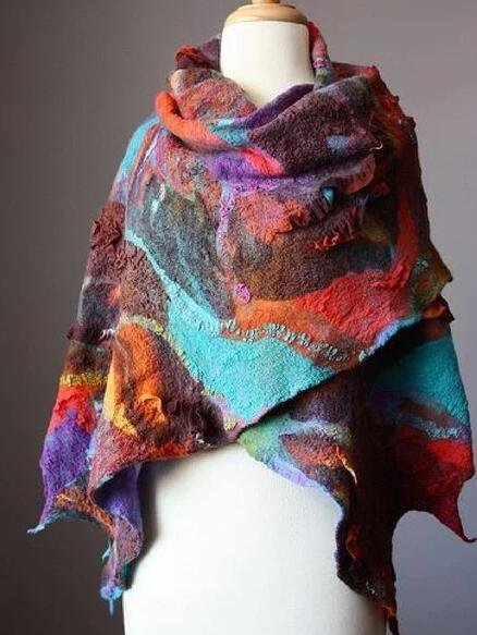 Purplish Red Casual Color-Block Scarves & Shawls