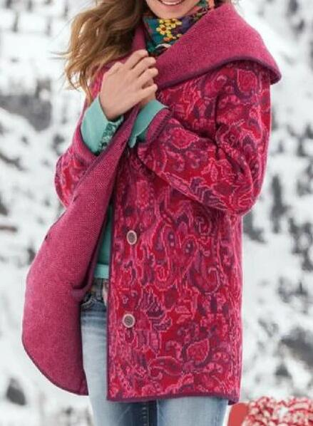 Fuchsia Floral-Print Cotton-Blend Hoodie Long Sleeve Outerwear