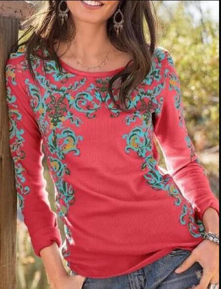 Red Cotton-Blend Long Sleeve Shirts & Tops