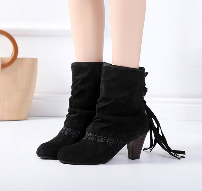 Women Plus Size High Heel Daily Faux Suede Applique Boot