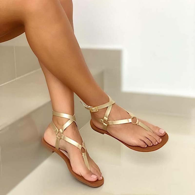 Plus Size Leather Gladiator Flat Thong Sandals