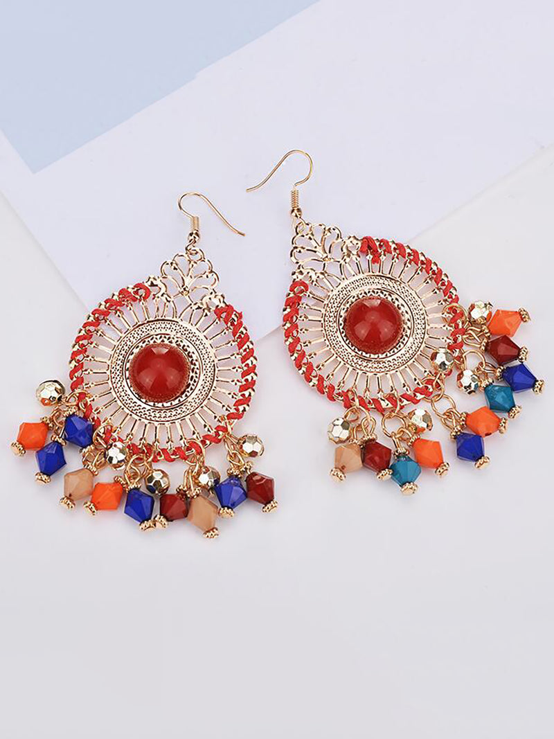 Disc Braided Boxy Rice Bead Hyperbole Earrings