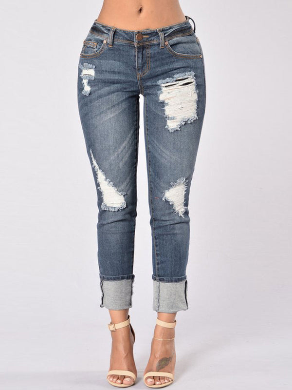 Worn Hole Patchwork Gradient Pocket Jeans