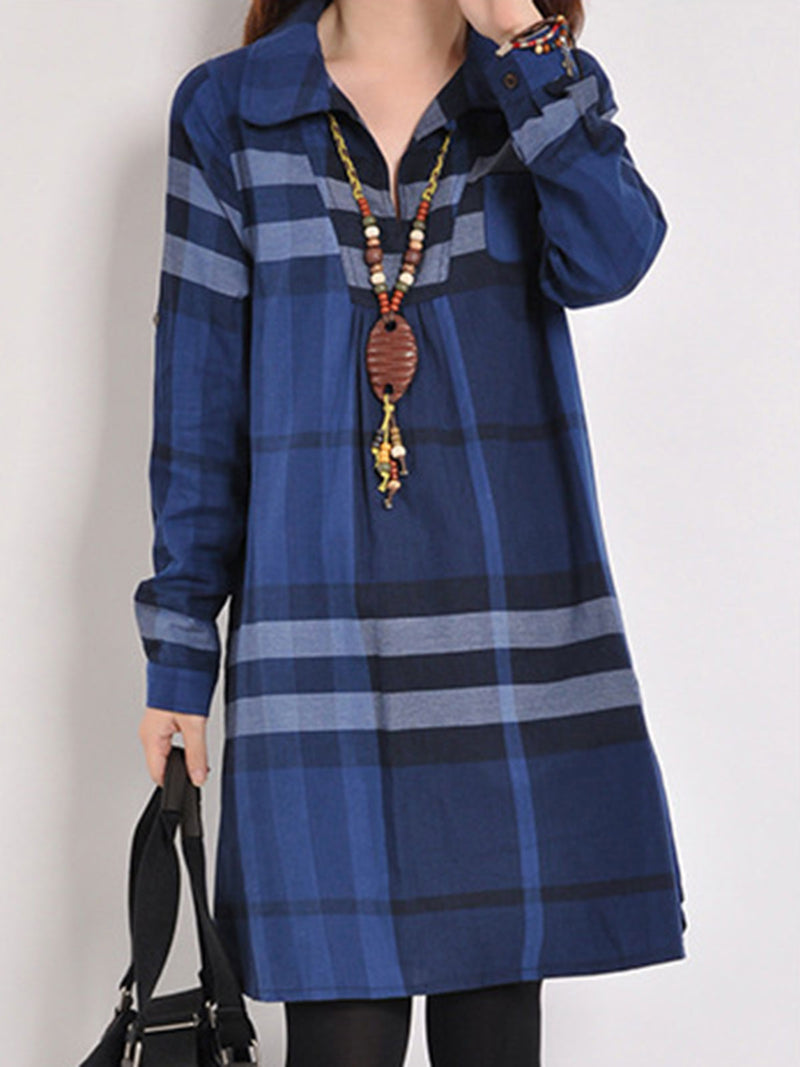 Color Block Long Sleeve Peter Pan Collar Casual Dress