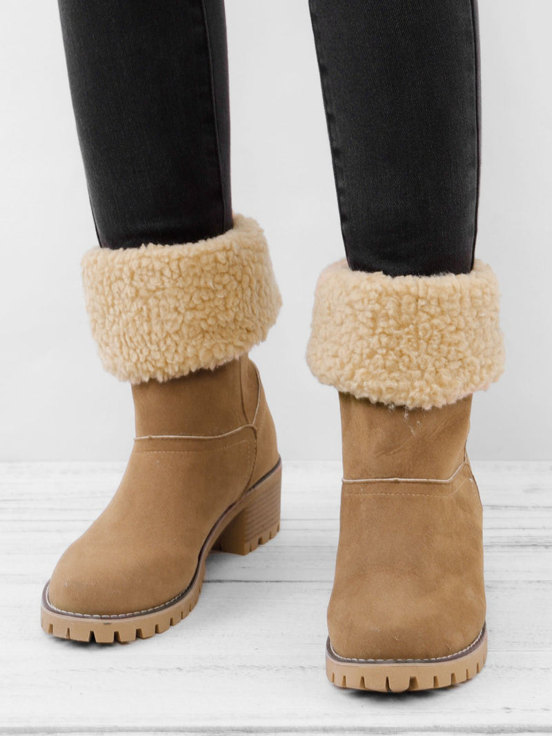 Women Warm Large Size Fur Lining Square Heels Snow Boots