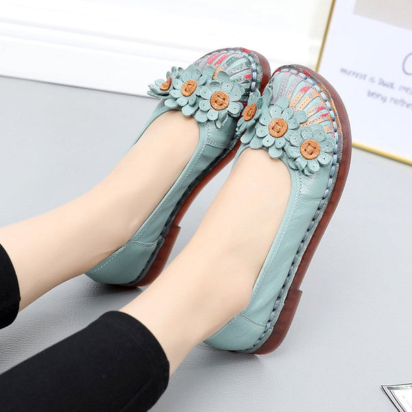 Leather Flat Heel Women's Shoes