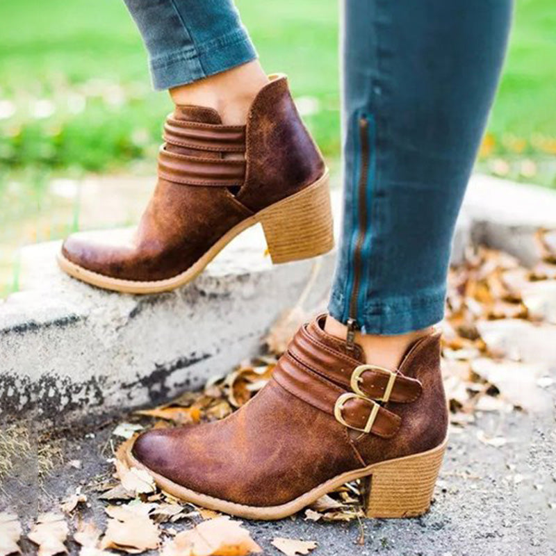 Womens Low Heel Ankle Boots Retro Artificial Leather Shoes