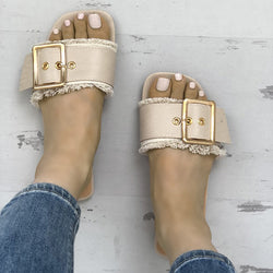 Women PU Slippers Casual Trendy Belted Buckle Shoes