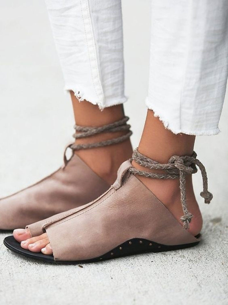 Solid Color Flat Lace-Up Open Toe Sandals
