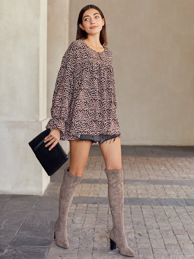 Leopard Crew Neck Frill Sleeve Shift Casual Shirts & Tops