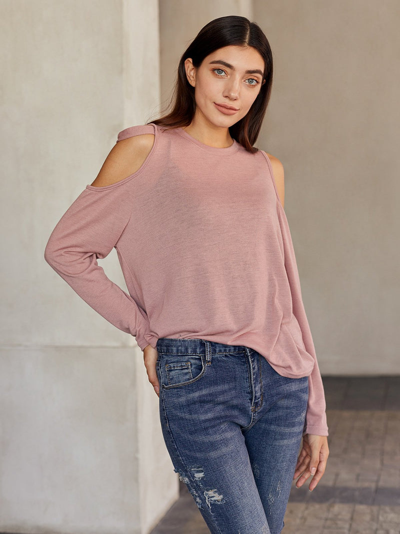 Pink Shift Cotton Crew Neck Casual Shirts & Tops