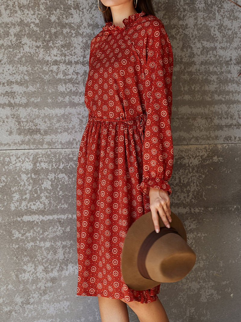 Red Floral Long Sleeve Dresses