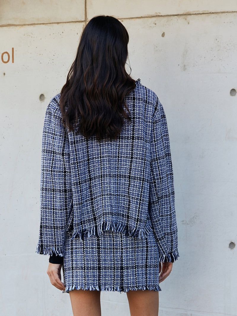 Blue Long Sleeve Checkered/plaid Shirts & Tops