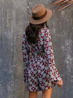 Claret_Red Shift V Neck Floral Vintage One-Pieces
