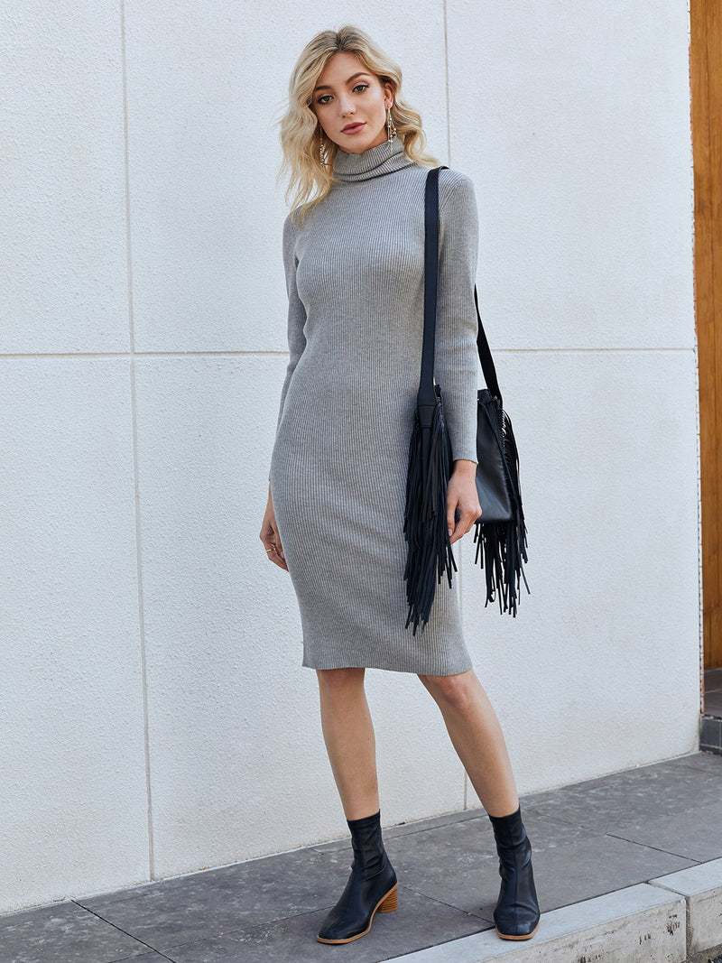 Gray Knitted Turtleneck Long Sleeve Dresses