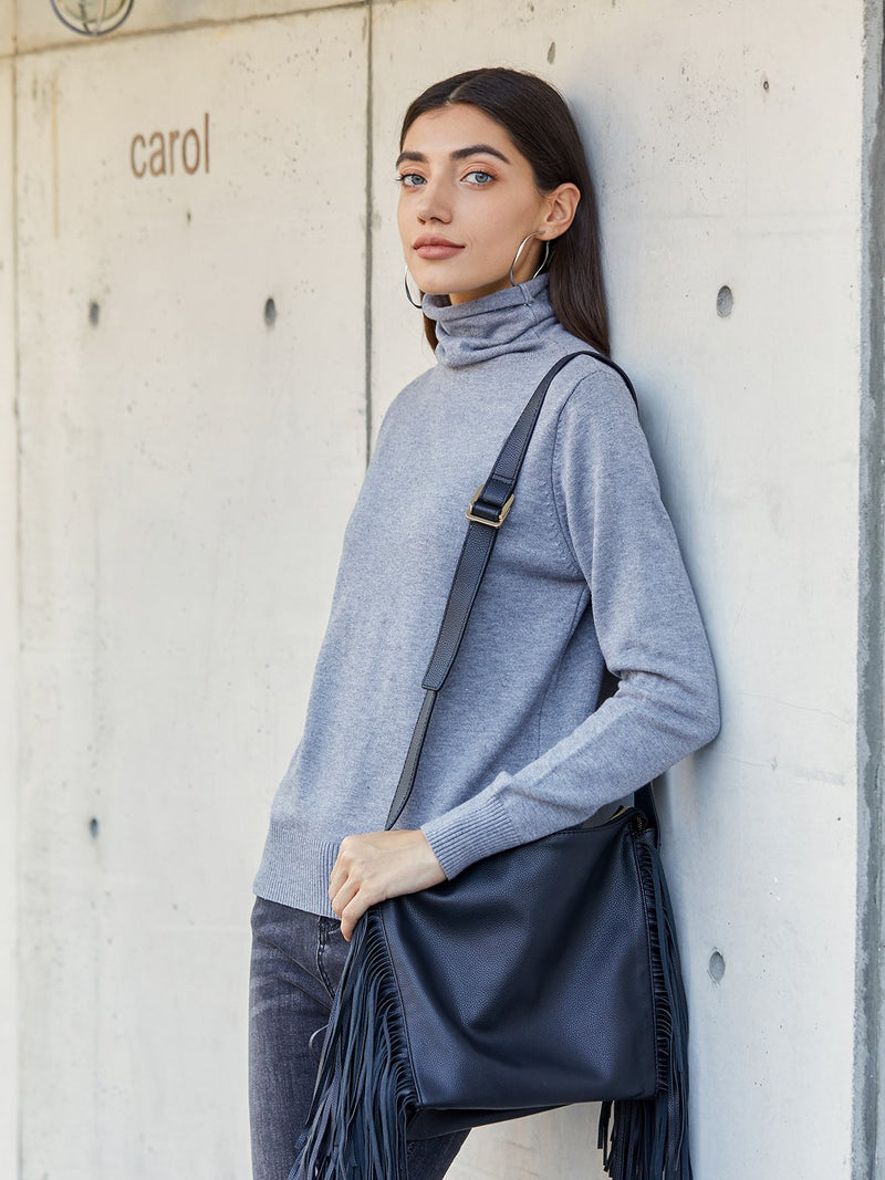 Gray Basic Turtleneck Solid Sheath Shirts & Tops
