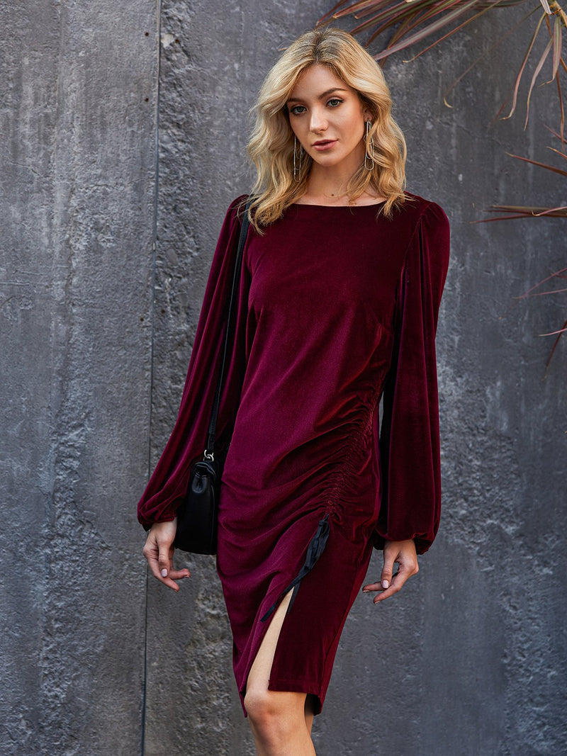Claret_Red Elegant Shift Plain Crew Neck Dresses