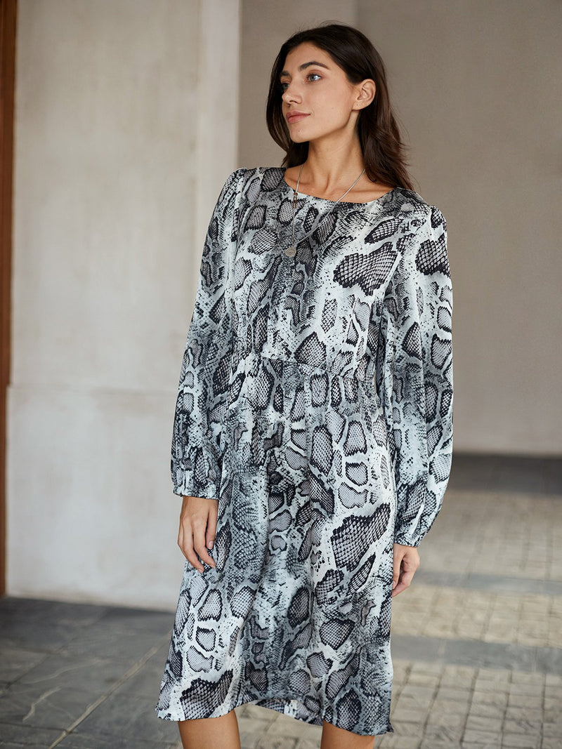 Black Sexy Shift Crew Neck Animal Dresses