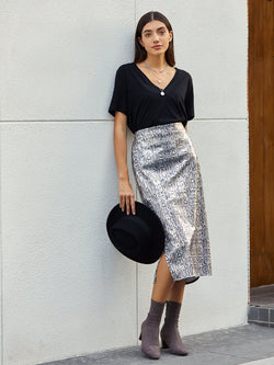 Silver Sexy Snakeskin Sheath Skirts