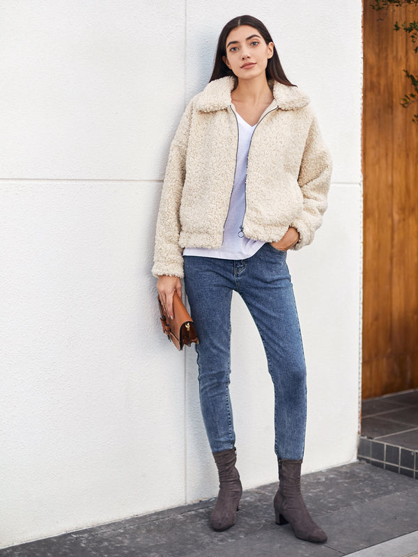 White Wool Blend Solid Simple & Basic Jackets