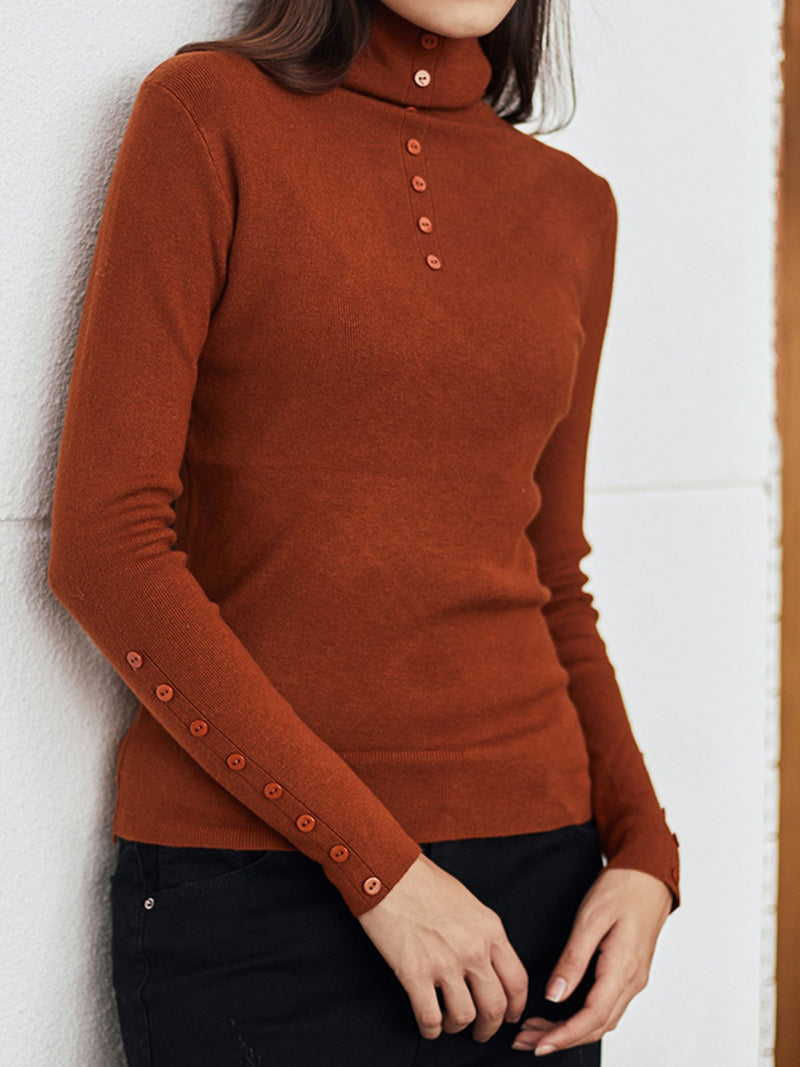 Red Turtleneck Basic Sheath Knitted Sweater