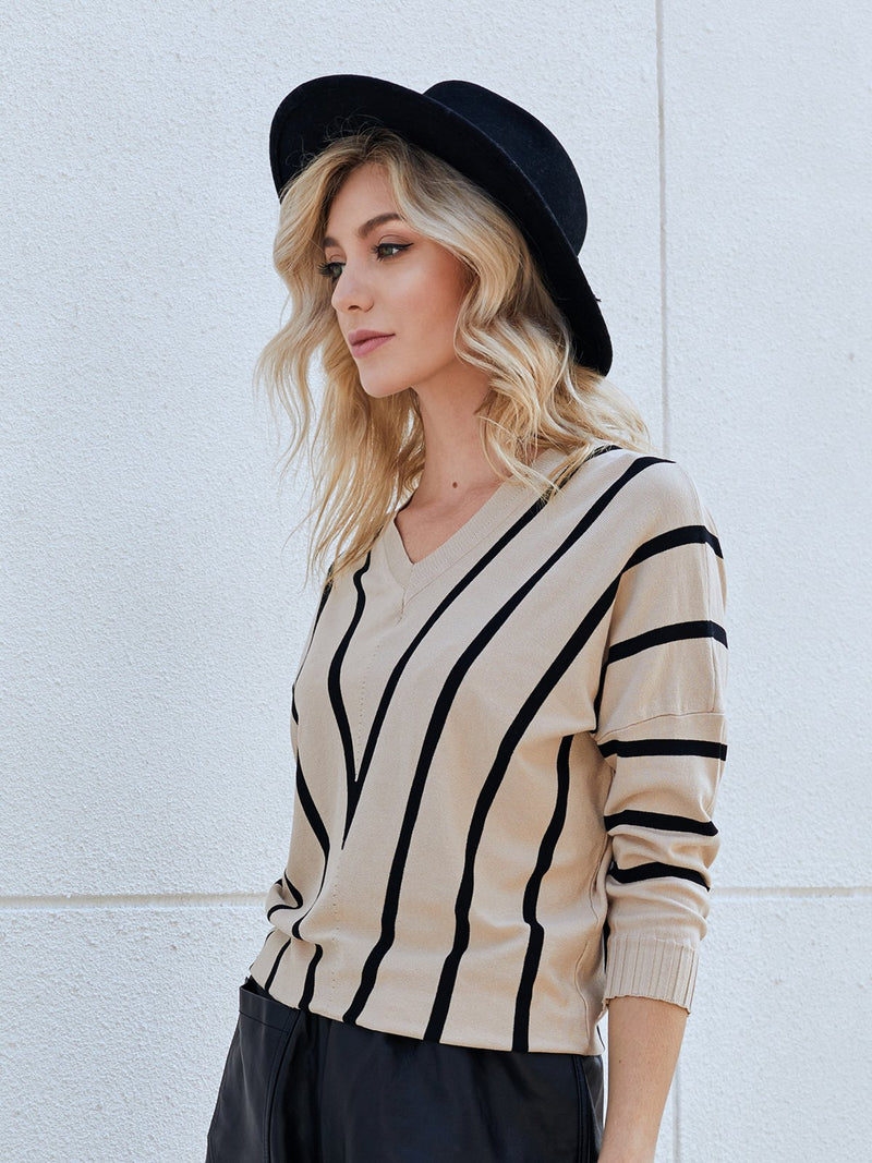 Khaki V Neck Stripes Shirts & Tops