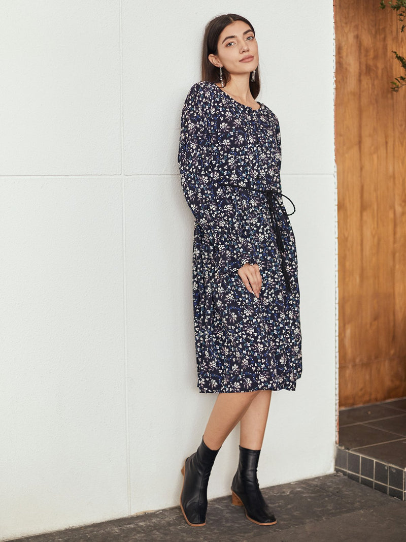 Blue Frill Sleeve Floral Crew Neck Dresses